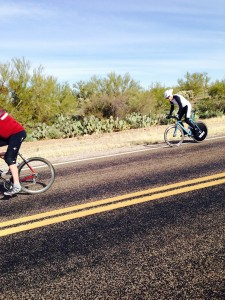 Dr. Blake making turn at halfway point of 2014 Flapjack time-trial