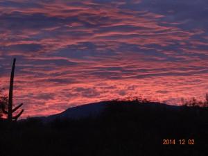 Sun Rise in the Rincon Mountains of Tucson, AZ